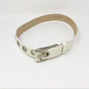 Carlisle white 60s white & rivet leather belt vtg
